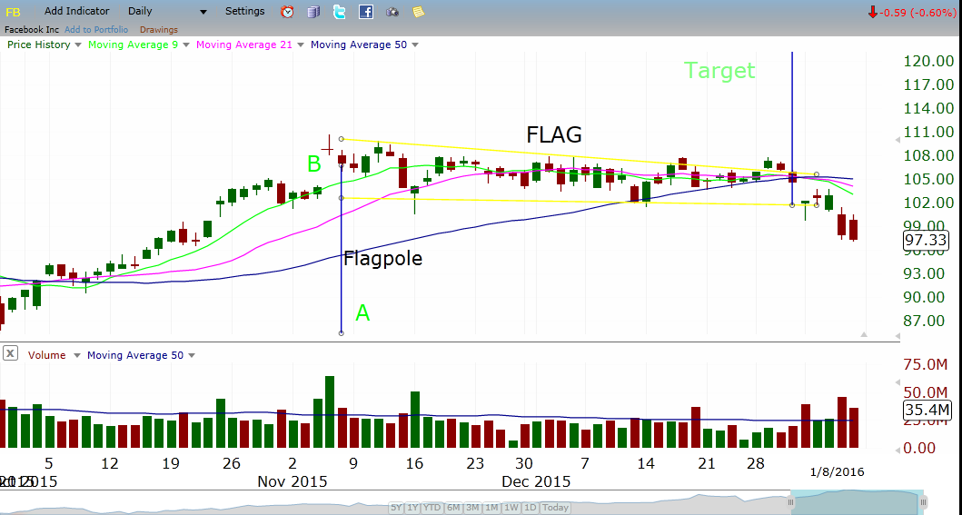 FB daily Chart in flag formation