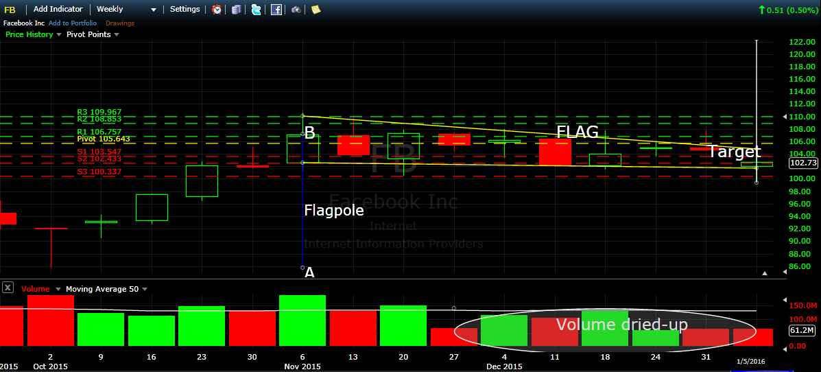 FB weekly chart in Flag Pattern with volume and pivotpoint